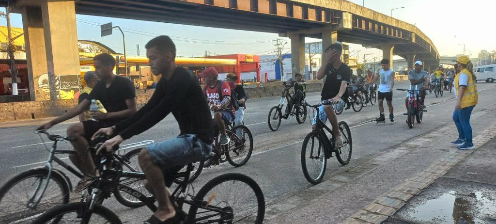 Ação de segurança no trânsito da SeMOB na ciclovia da avenida Almirante Barroso, no Entroncamento